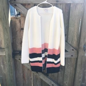 Loft outlet white striped long open front cardigan
